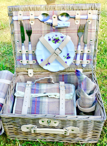 The Lavender  - a tweed fitted Picnic Hamper for 2