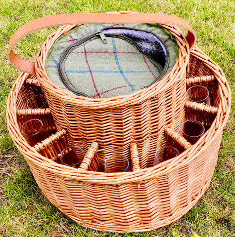Green tweed chiller Garden Party Basket