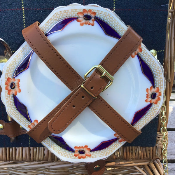 picnic hamper with vintage china