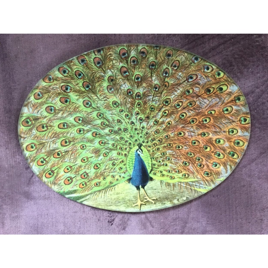 peacock glass vintage style plate