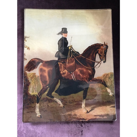 "Vintage glass decoupage plate - ""Elegant side-saddle"""