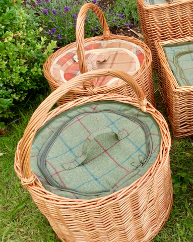 round green tweed chiller basket