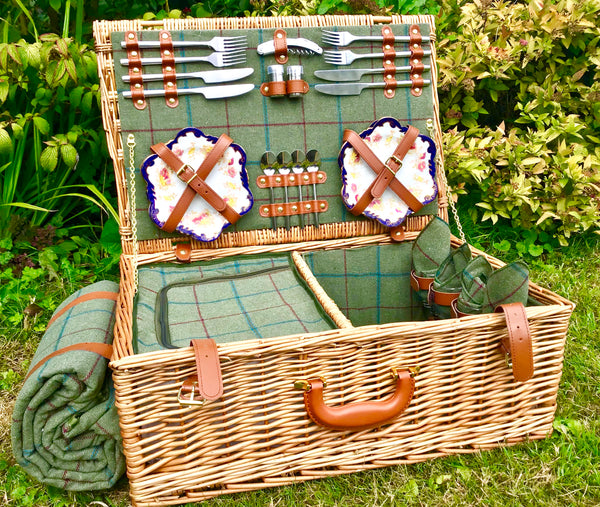 The Dorset - a leather and willow fitted picnic hamper for 4