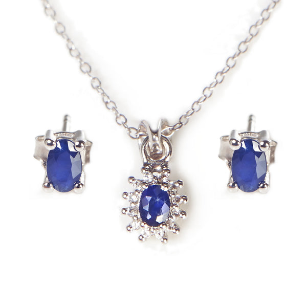 Blue Sapphire and White Topaz Pendant and Earrings Set