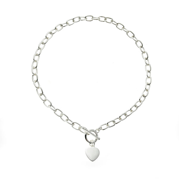 Silver T-Bar 22 Inch <BR/>Heart Charm Necklace