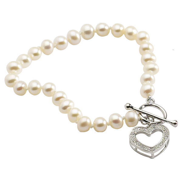 Diamond Heart with Pearls Bracelet
