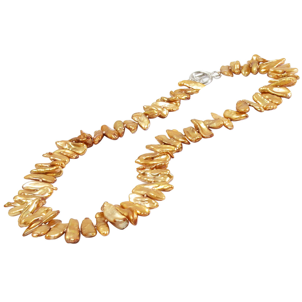 Gold Biwa Pearl Necklace