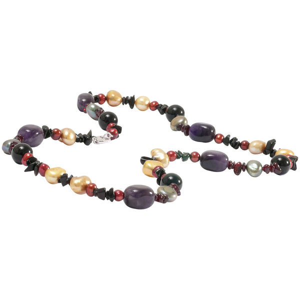 Amethyst, Pearl and Black Onyx Necklace