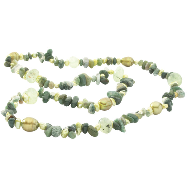 Freshwater Cultured<BR/>Baroque Pearls Moss <BR/>Agate Necklace