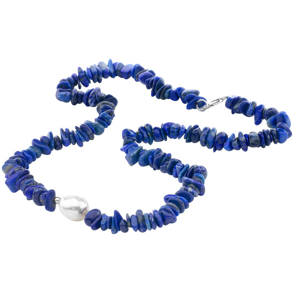 Lapis Lazuli Necklace with Baroque Pearl