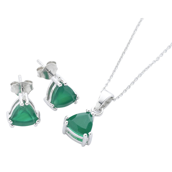 Green Onyx and<BR/> Diamond Pendant <BR/>and Earrings Set