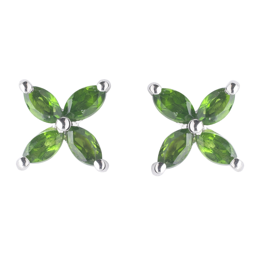 Green Floral Stud Earrings