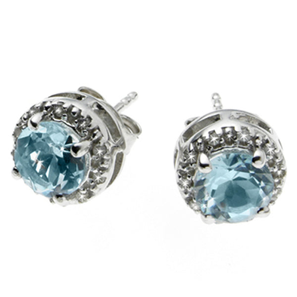 Diamond and Topaz <BR/>Stud Earrings