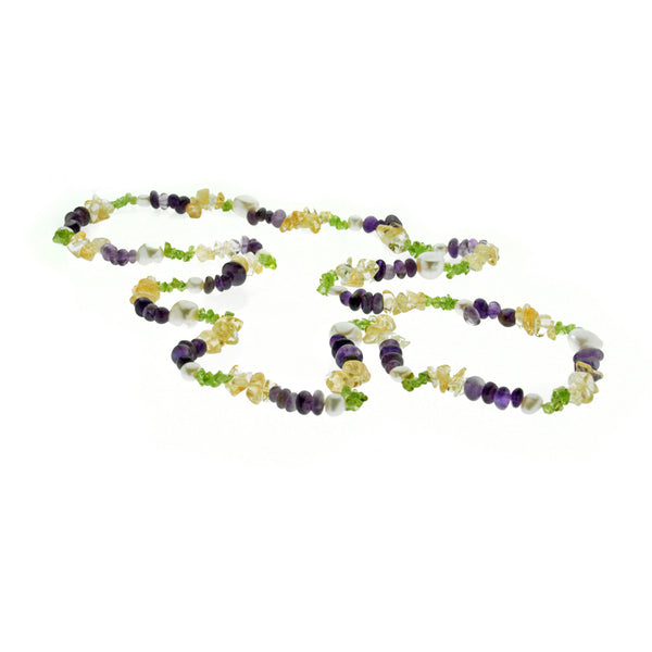 Gemstones and <BR/>Pearl Rope Necklace