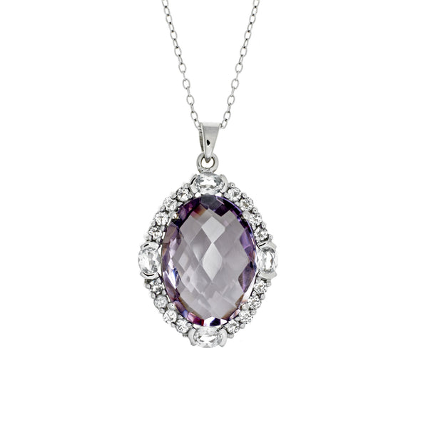 Magnificent Pink<BR/>Amethyst Pendant and<br/>Topaz Earrings Set