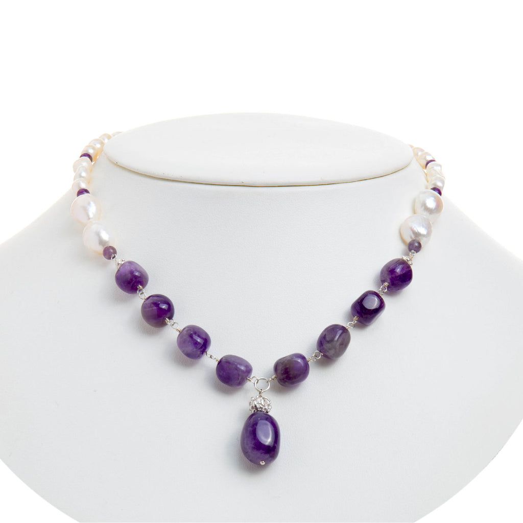 Stunning Pearl and Amethyst Drop Necklace
