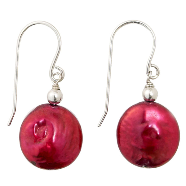 Cranberry Coin Pearl <BR/>Earrings