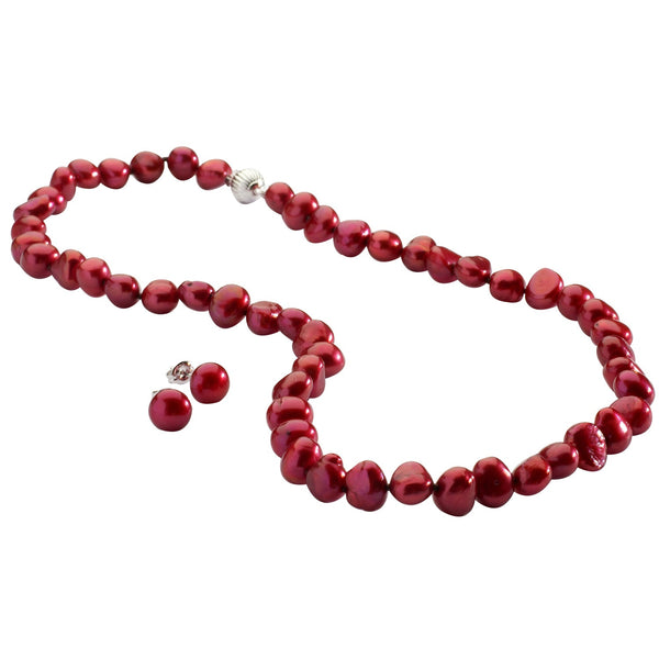 Cranberry Pearl Necklace and Bracelet with Free Earrings Set