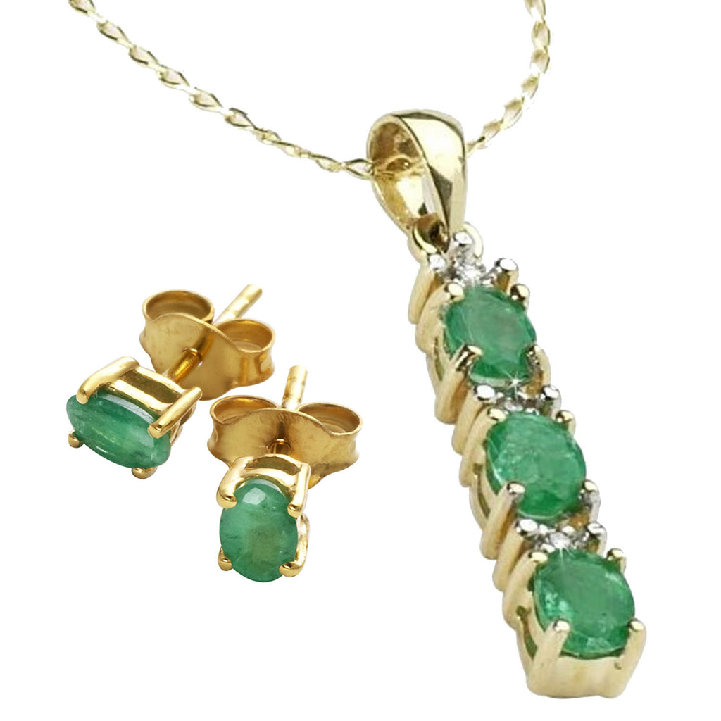 Emerald And<BR/> Diamond Earrings And<BR/> Pendant Set