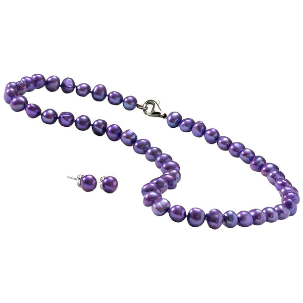 Amethyst Pearl Necklace with Earrings Set