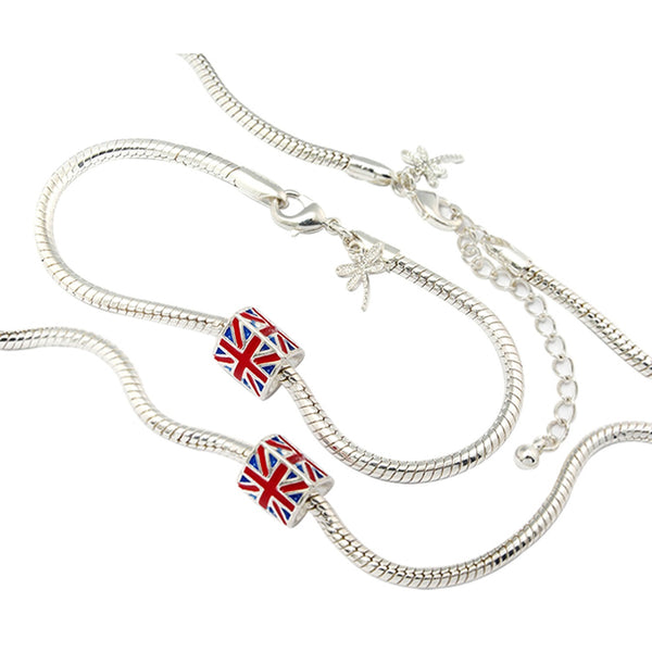 Union Jack Charm Necklace and Bracelet Set