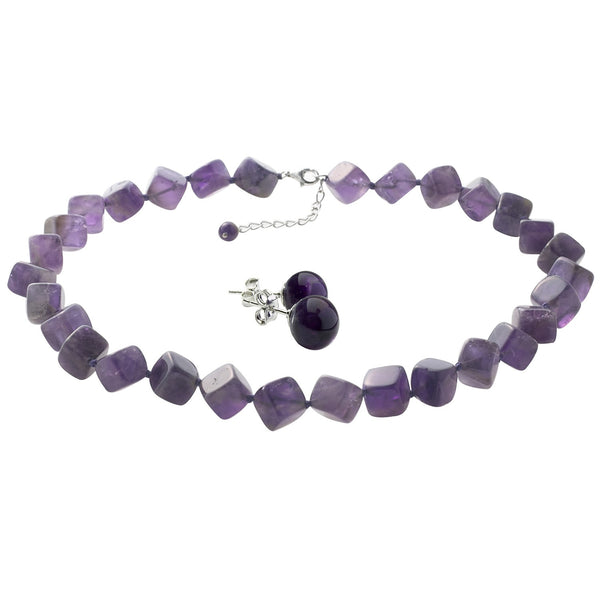 Amethyst Cube Necklace with Amethyst Earrings Set