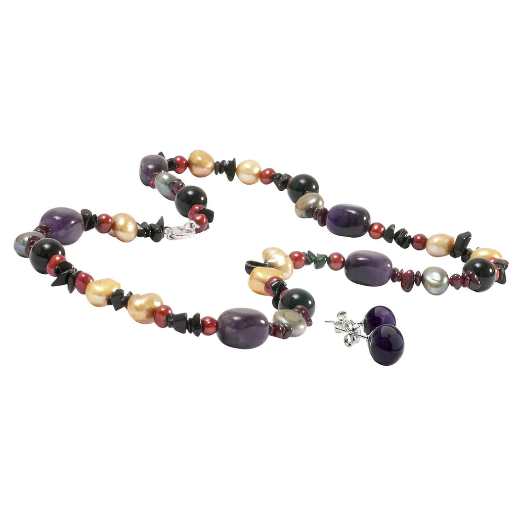Amethyst, Pearl and Onyx Necklace with Amethyst Earrings Set