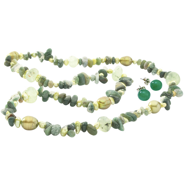 Freshwater Cultured Baroque<BR/> Pearls Moss Agate Set