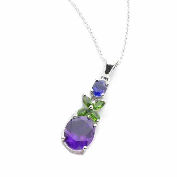 Amethyst, Iolite and <BR/>Chrome Diopside <BR/>Silver Pendant