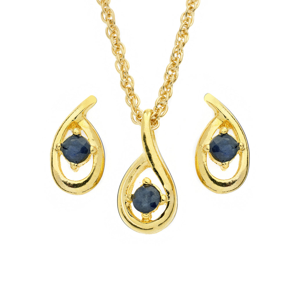 Sapphire Tear <BR/>Pendant and<BR/> Earrings Set
