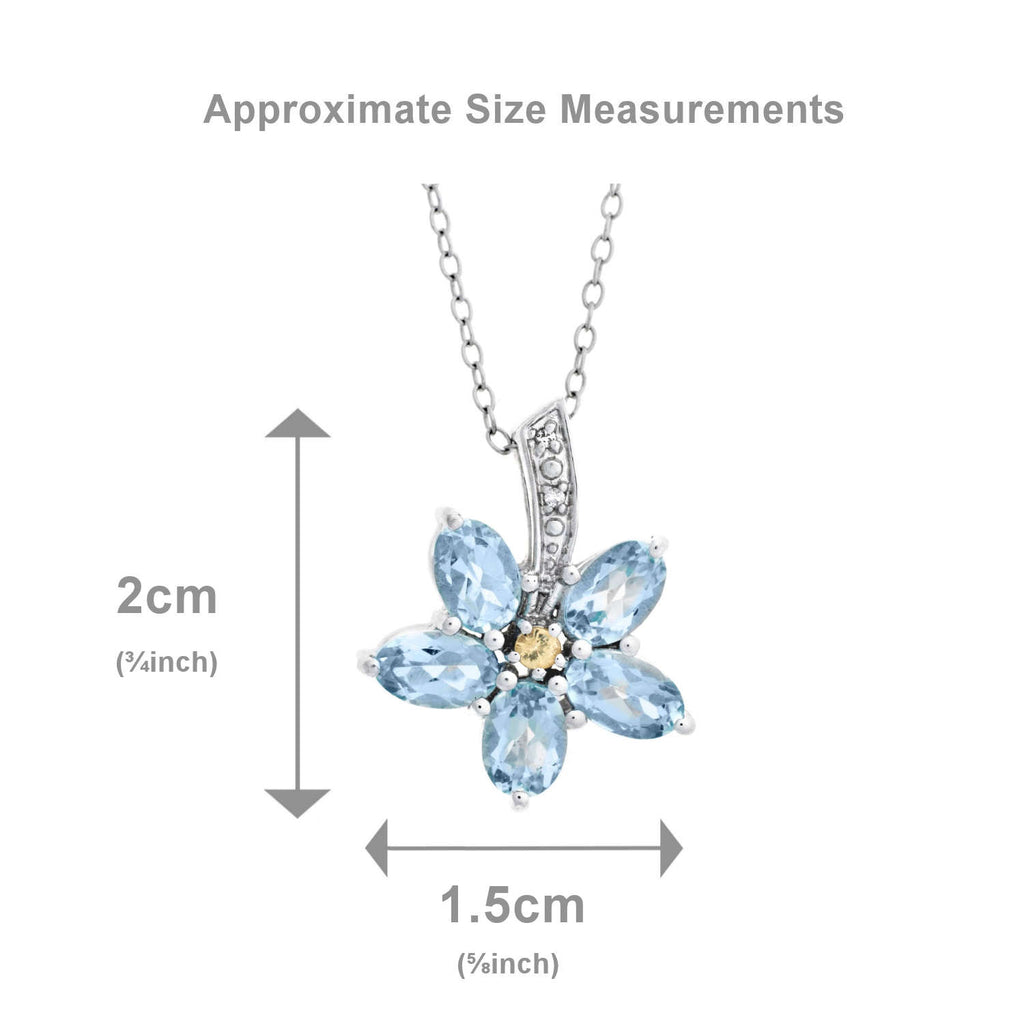 Forget Me Not <BR/>Sapphire and Topaz <BR/>Pendant and Earrings<br/>Set