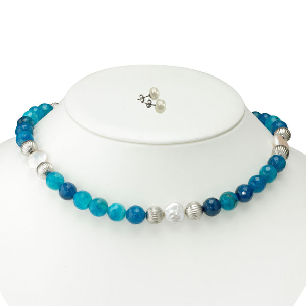 Blue Agate and Coin Pearl <BR/>Necklace with White Pearl Earrings
