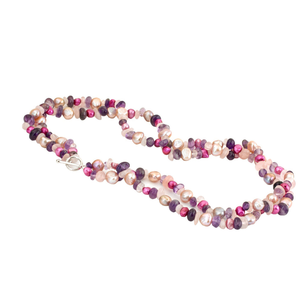 Two Row Pearl<BR/>Amethyst and Rose <BR/>Quartz Necklace