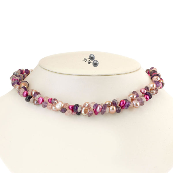 Two Row Pearl Amethyst & Rose <BR/>Quartz Necklace <BR/>Wtih Grey Pearl Earrings