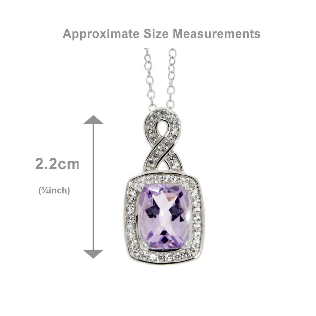 Pink Amethyst <BR/>and White Topaz<BR/>Silver Pendant<BR/>and Earrings Set