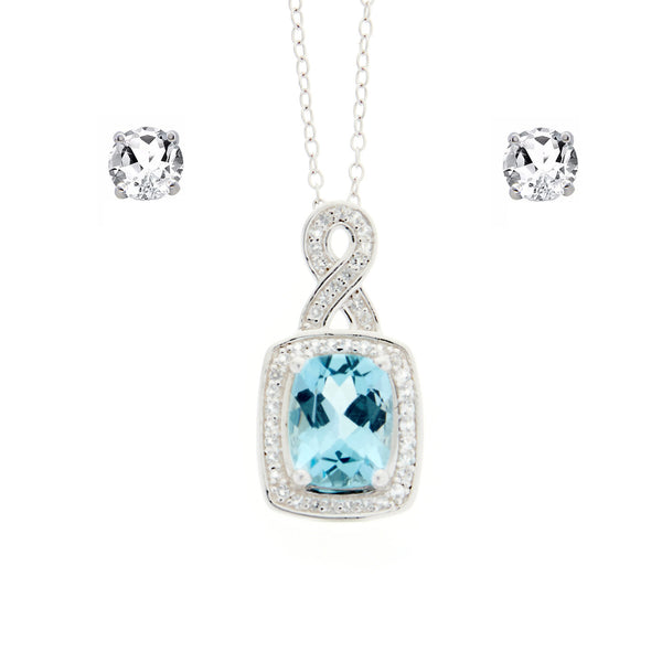 Sky Blue Topaz<BR/>and White Topaz<BR/>Silver Pendant<BR/>and Earrings Set