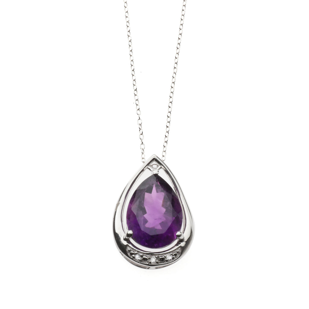 Fabulous Amethyst and<BR/>White Topaz Pendant<BR/>and Earrings