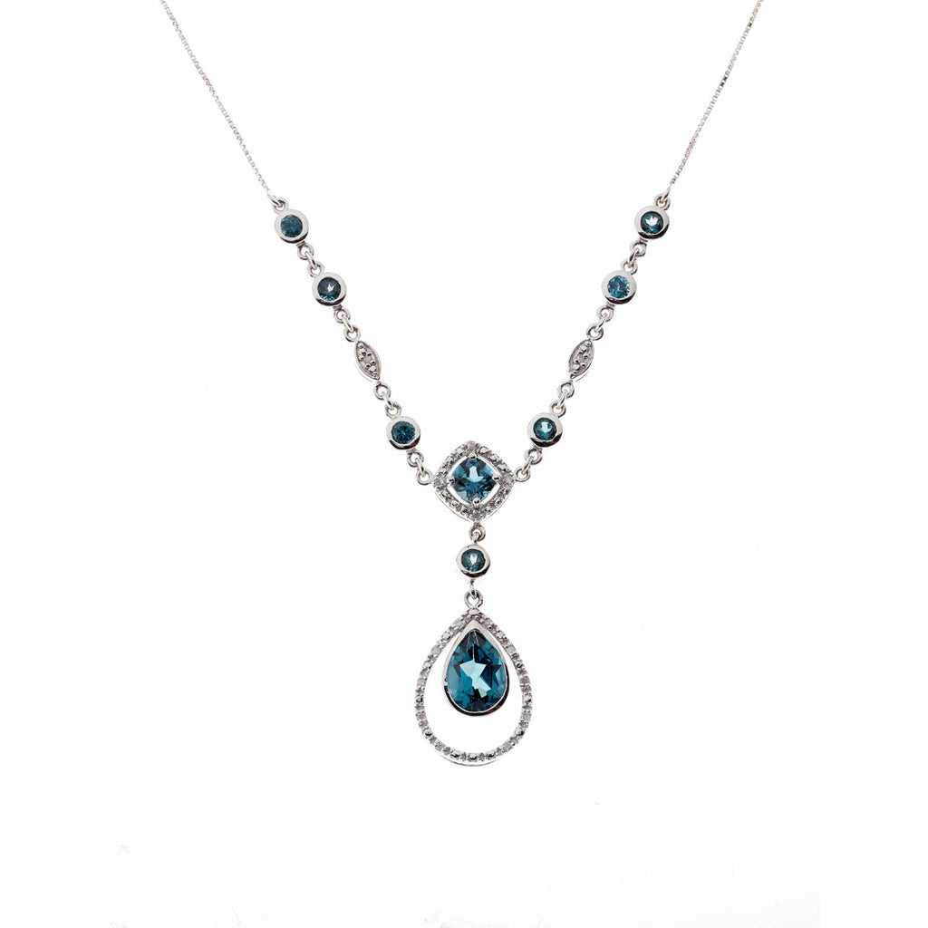 Created London Blue Topaz<BR/>Necklace