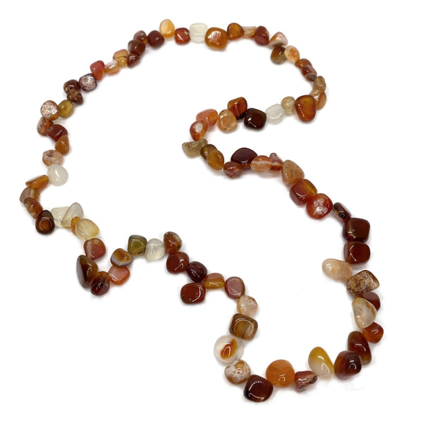 Red Agate Claspless </BR>Pear Bead Necklace