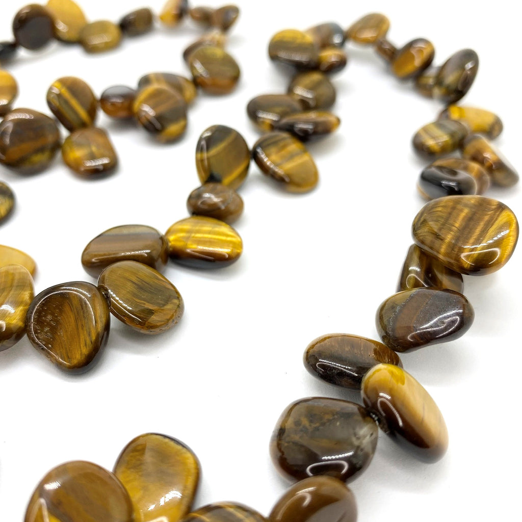 Tigers Eye Pear Bead<br/>Claspless Rope Necklace