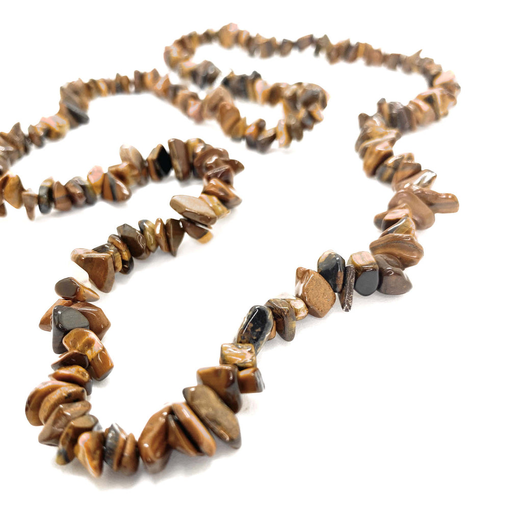 Tigers Eye Chip<br/>Claspless Rope Necklace
