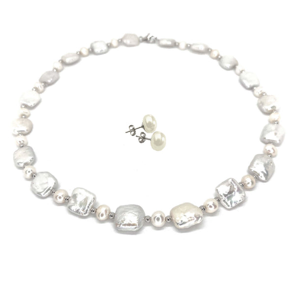 Raindrop Pearl Necklace  <BR/>with White Pearl Earrings