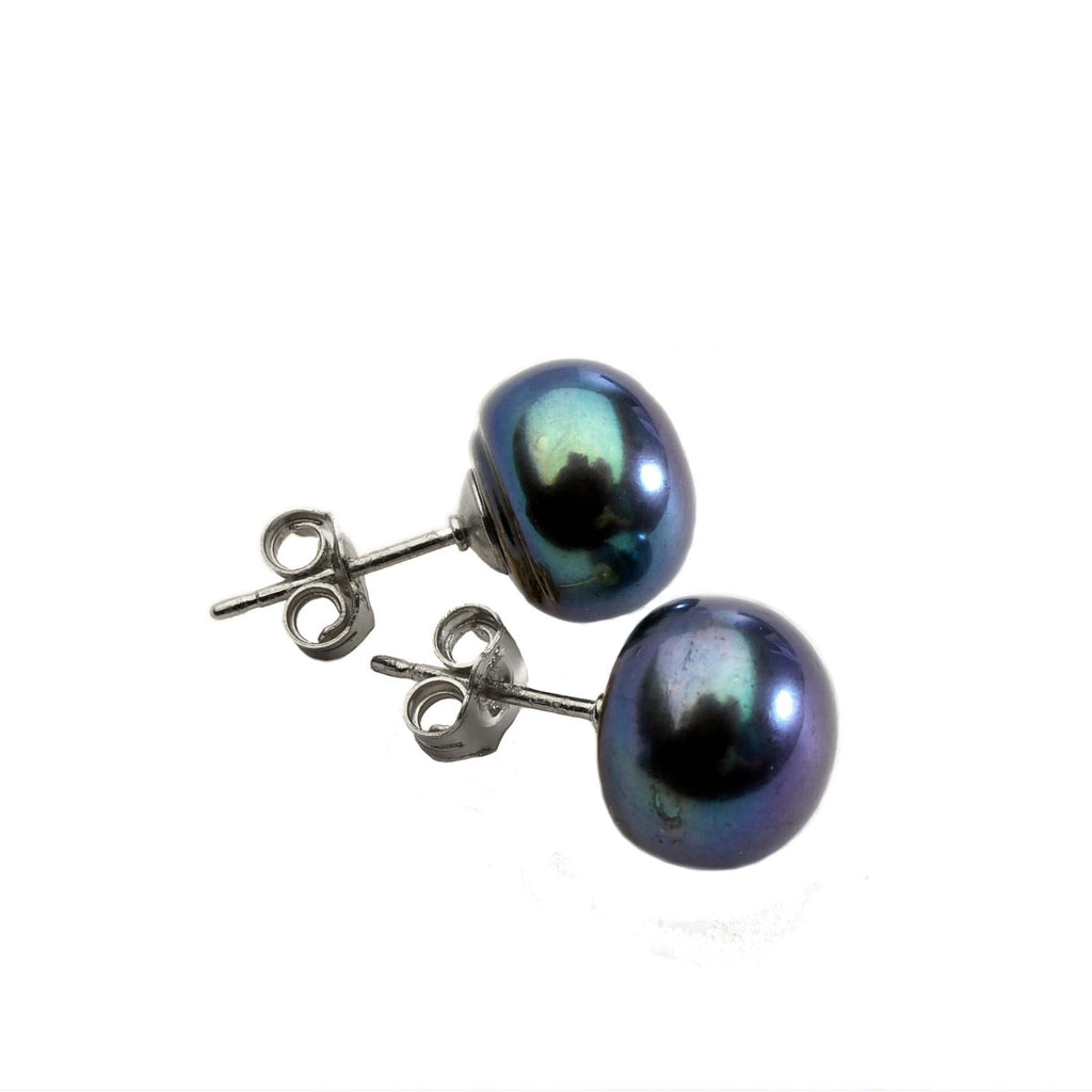 Black Pearl Stud<BR/> Earrings