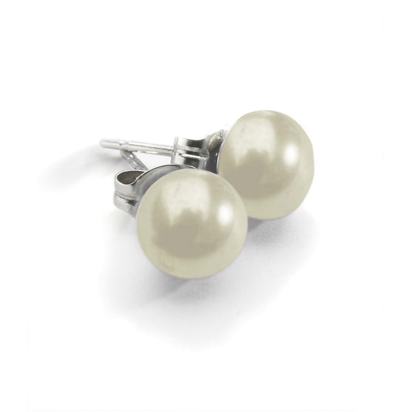 White Pearl Stud<BR/> Earrings