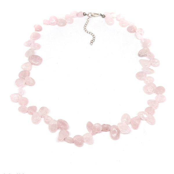 Rose Quartz Pear Shaped <br/>Bead Necklace