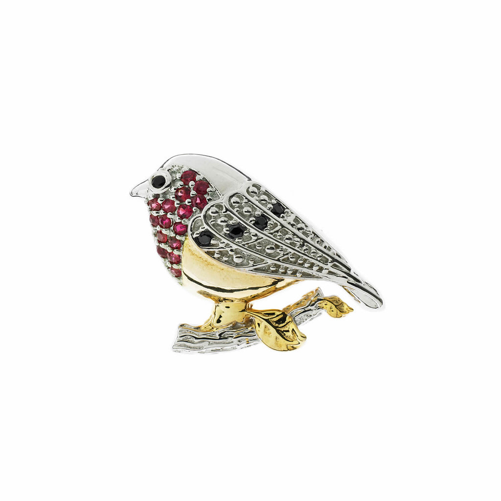 Ruby Robin Brooch
