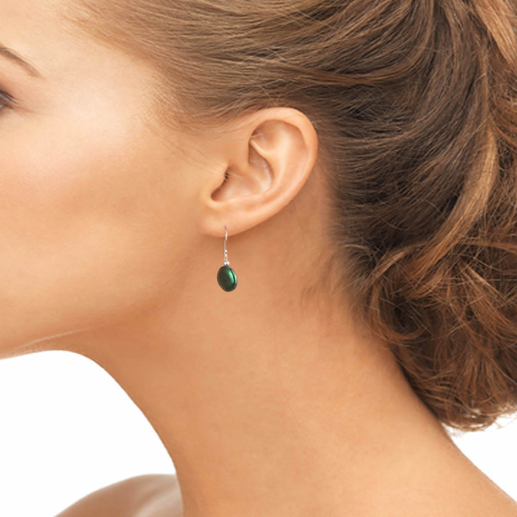 Green Coin Pearl <BR/>Earrings