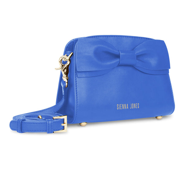The Mini Marina Bow <BR/>Blue Handbag