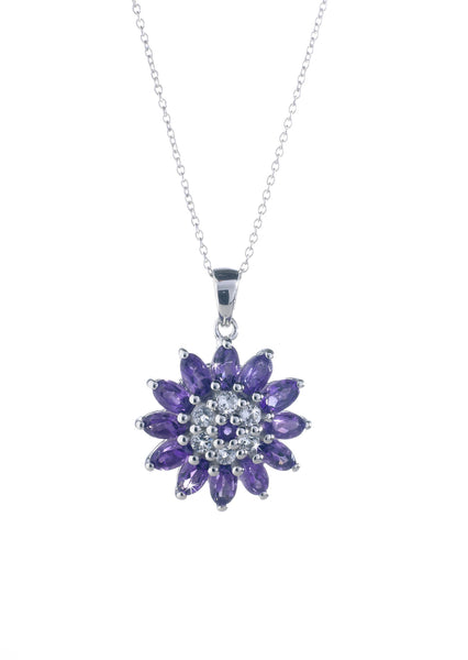 Amethyst and Topaz Silver Star Pendant
