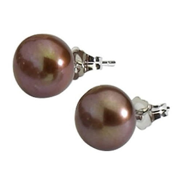 Chocolate Pearl Stud Earrings